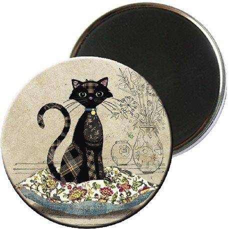 Magnet rond  chat coussin